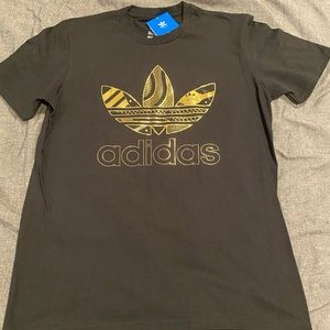Adidas Black and Gold Foil T-Shirt